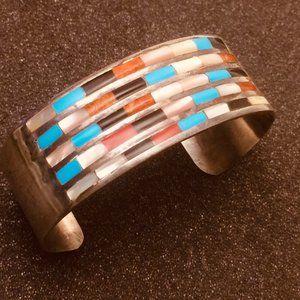 Zuni Signed Coral Cuff Bracelet